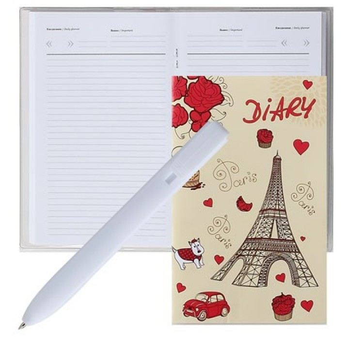 Ежедневник А6 н/д мягк обл Paris+ручка 2528-2