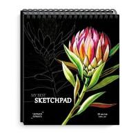 Скетчпад 168х195 мм, 30 л, блок - чёрная дизайнерская бумага 120 г/м2, арт. 50819 КРАСНЫЙ ЦВЕТОК /обложка полноцветная печать, гребень по короткой стороне, выборочный ТВИН УФ-лак/