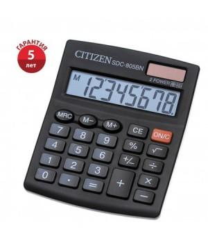 Калькулятор настольный 8 разрядов Citizen SDC 805 BN двойное питание 131*102*18мм черный