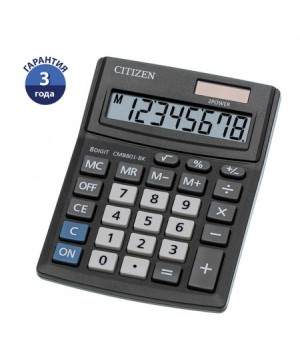 Калькулятор настольный 8 разрядов Citizen BusinessLine CMB 801 BK двойное питание 136*100*32мм черный