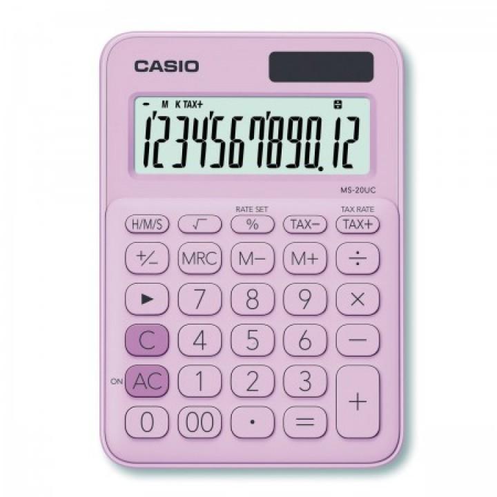 Калькулятор Casio (12 разр) MS-20UC-PK-S-UC 150*105*23мм роз