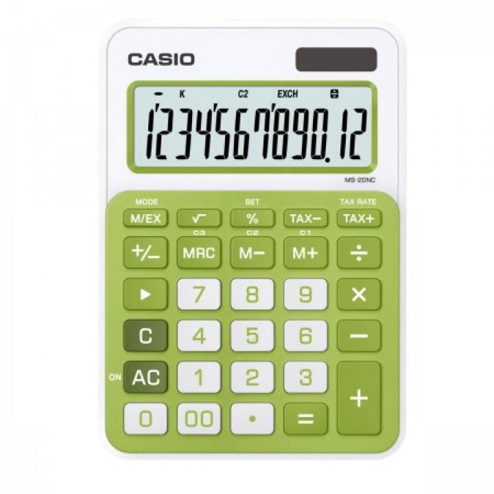 Калькулятор Casio (12 разр) MS-20NC-GN-S-EC 149*105*22мм зел