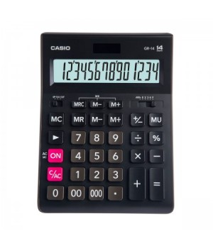 Калькулятор Casio (14 разр) GR-14-W-EP 209*155*35мм черн