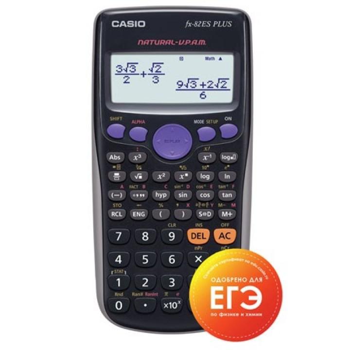 Калькулятор инженер Casio (10+2 разр) FX-82ESPLUSBKSBEHD 162*80*14мм (252 функц) черн