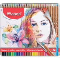 ARTIST Акварельные карандаши с кисточкой в комплекте, 24 цвета, в металлическом футляре