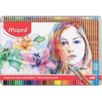 ARTIST Акварельные карандаши с кисточкой в комплекте, 48 цветов, в металлическом футляре