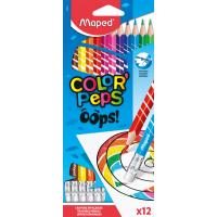 COLOR'PEPS OOPS Цветные карандаши с ластиком, пластиковые, 12 цветов, в картонной коробке с подвесом
