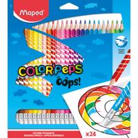 COLOR'PEPS OOPS Цветные карандаши с ластиком, пластиковые, 24 цвета, в картонной коробке с подвесом