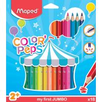 COLOR PEP'S JUMBO Карандаши цветные из американской липы,  треугольные, ударопрочный грифель, в картонном футляре, 18 цветов