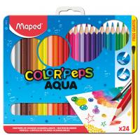 COLOR'PEPS AQUA Акварельные карандаши для рисования подарочные, 24 цвета, кисть в комплекте, в металлической коробке