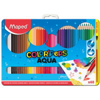 COLOR'PEPS AQUA Акварельные карандаши для рисования подарочные, 48 цветов, кисть в комплекте, в металлической коробке