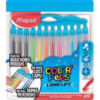 COLOR'PEPS LONG LIFE Фломастеры с заблокированным пишущим узлом, с нетеряющимися колпачками, средний пишущий узел, смываемые, в пакете с подвесом, 12 цветов