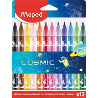 COLOR'PEPS JUNGLE COSMIC Фломастеры с заблокированным пишущим узлом, декорированные, средний пишущий узел, смываемые, в картонном футляре, 12 цветов