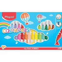 COLOR'PEPS JUMBO Фломастеры макси с заблокированным пишущим узлом, суперсмываемые, 18 цветов
