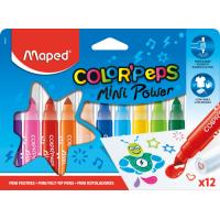 COLOR'PEPS JUMBO MINI POWER Фломастеры макси с заблокированным пишущим узлом, суперсмываемые, со штампами на колпачках, 12 цветов