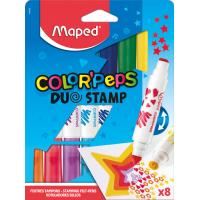 COLOR'PEPS DUO STAMP Фломастеры двусторонние со штампами, с треугольным заблокированным пишущим узлом ᴓ7,5 мм, суперсмываемые, в картонном футляре, 8 цветов