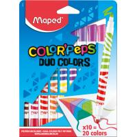 COLOR'PEPS DUO Фломастеры двусторонние, с треугольным заблокированным пишущим узлом - для тонкого письма и раскрашивания, супер смываемые, в картонном футляре, 20 цветов, 10 шт