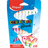COLOR'PEPS BRUSH Фломастеры с кистевым пишущим узлом - для тонкого письма и раскрашивания, треугольный корпус, супер смываемые, в картонном футляре, 10 цветов