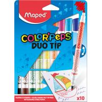 COLOR PEP'S DUO TIP Фломастеры двусторонние, с двумя разными наконечниками - для тонкого письма и раскрашивания, супер смываемые, в картонном футляре, 10 шт
