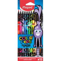 COLOR'PEPS BLACK MONSTER Цветные карандаши декорированные, пластиковые, 12 цветов, в картонной коробке с подвесом