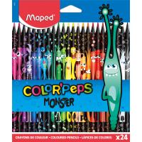COLOR'PEPS BLACK MONSTER Цветные карандаши декорированные, пластиковые, 24 цвета, в картонной коробке с подвесом