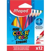 COLOR'PEPS MINI STRONG Цветные карандаши повышенной прочности, мини, пластиковые, 12 цветов, в картонной коробке с подвесом