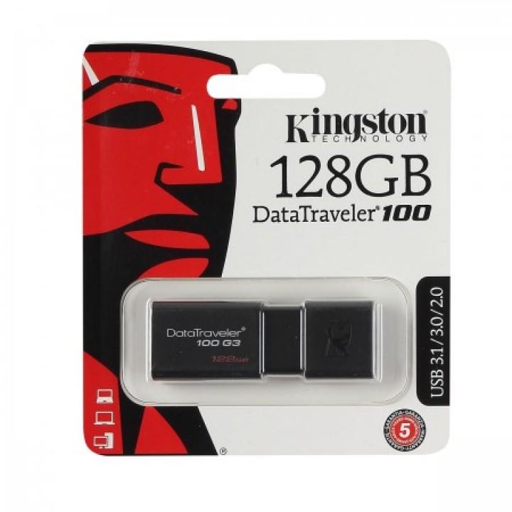 Флеш-память USB 128 Gb Kingston DT100 G3, USB 3.0, Черный