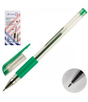 Ручка гел 0,5 прозр корп резин манжет Attomex 5051309 зел к/к