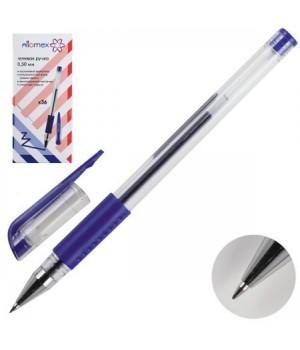 Ручка гел 0,5 прозр корп резин манжет Attomex 5051306 син к/к