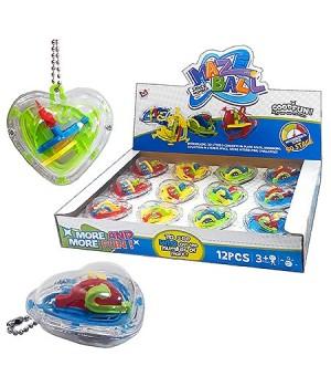 Головоломка Maze ball брелок- сердце, 12 цветов ассорти, пластик, картонная упаковка 27*19,5*4см