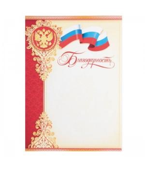 Грамота Благодарность с Рос симв 210*297 мелов бумага 9-19-017