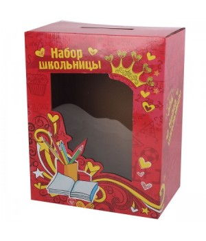 * Коробка подарочная для ранца Набор школьницы 30*38*19 77008/15192 красн