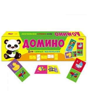 Домино Рыжий кот Для самых маленьких, состав: 28 пластиковых фишек, 28 наклеек, картонная упаковка 19*5,5*1,5 см
