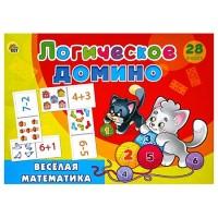 Домино Рыжий кот логическое Веселая математика, состав: 28 фишек домино с картинками 3,5*7 см, картонная упаковка 25*7,5*3см, от 3лет