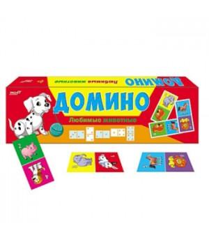 Домино Рыжий кот Любимые животные, состав: 28 пластиковых фишек, 28 наклеек, картонная упаковка 19,5*5,5*1,5см