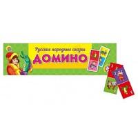 Домино Рыжий кот Русские народные сказки, состав: 28 пластиковых фишек домино с картинками, пластиковый футляр 18,5*6*1,5см