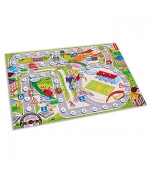 Игра ходилка Рыжий кот Дорожные знаки, состав набора: игровое поле 42*28,5 см, 4 фишки, кубик, инструкция