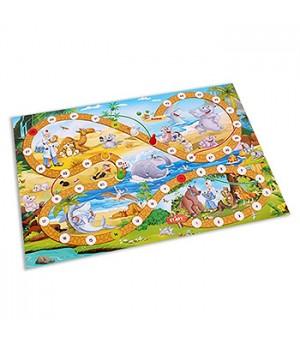 Игра ходилка Рыжий кот Приключения в Африке, состав набора: игровое поле 42*28,5 см, 4 фишки, кубик, инструкция