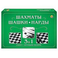 Шахматы, шашки и нарды Рыжий кот состав: 2 игровых поля 28,5*28,5см, шахматы- 32шт, шашки- 30шт, 2 кубика, картонная упаковка 28,5*19*3см