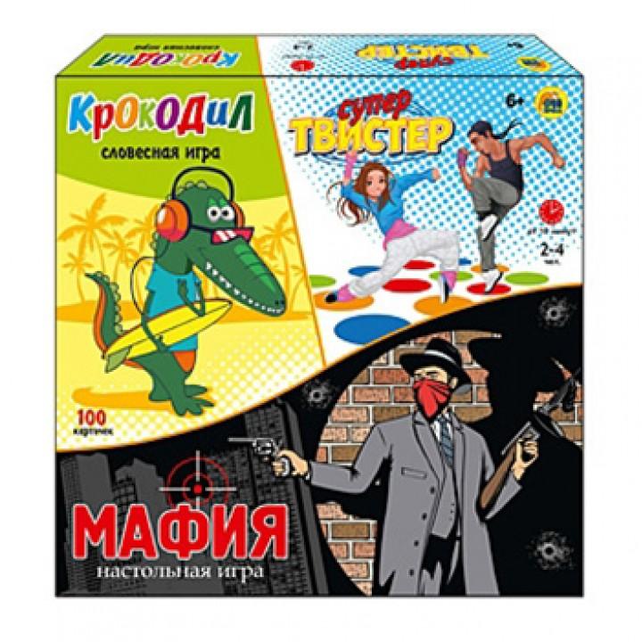 Игра Рыжий кот Супер-Твистер+Крокодил+Мафия, состав: игровое поле 180*120см, рулетка, 100 карт и инструкция Крокодил , 18 карт и инструкция Мафия , картонная упаковка 28*27,5*5,5см