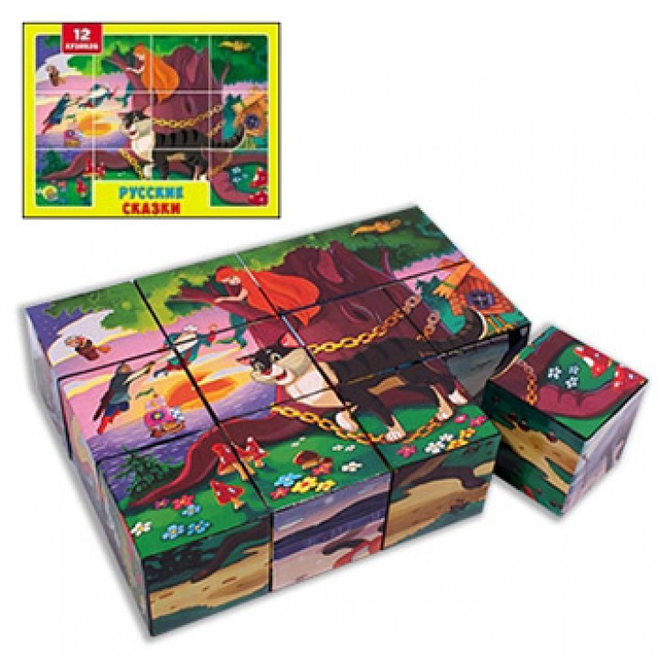Кубики Рыжий кот пластиковые 12шт 4*4*4см Русские сказки, картонная коробка 12*16*4см
