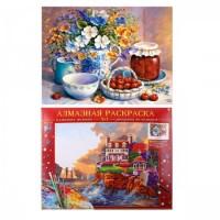 Картина 2 в 1 алмазная мозаика+картина по номерам 40*50см Милый натюрморт AСK012 с подрамн