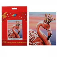 Мозаика Картина алмазная по номерам 17*21см част выклад Королевский фламинго М001 на картоне