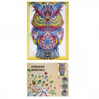 Мозаика Картина алмазная по номерам 40*50см част выклад стразы разных форм Сова 183916/LP013 с подрамн КОКОС