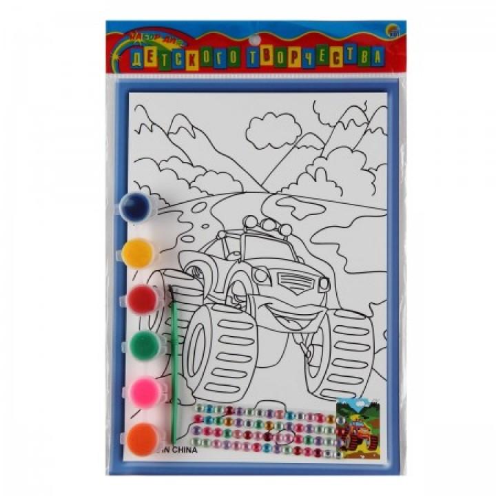 Раскраска на картоне 19*26см Машина в горах со стразами Р-8807