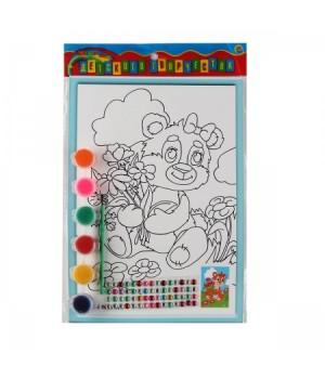 Раскраска на картоне 19*26см Мишка с цветами со стразами Р-8802