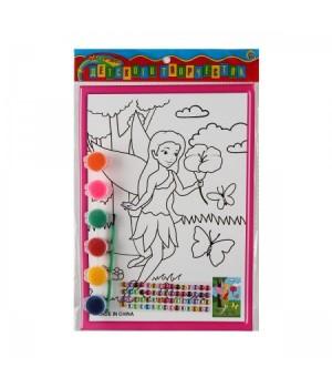 Раскраска на картоне 19*26см Фея с цветком со стразами Р-8805