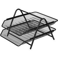 Лоток для бумаг горизонтальный Attache (2 секции, металлическая сетка, высота 178 мм, черный)