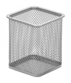 Подставка для письменных принадлежностей Attache (квадратная, 80х80х98 мм, металлическая сетка, серебро)