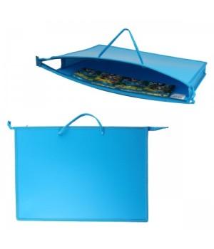 Папка д/художника пластик на молн сверху А3 (345*465*50мм) 1отд Ярко-голубой ПР 3-8 10223 руч